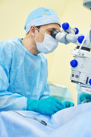 eyesight correction. surgeon doctor in operation room