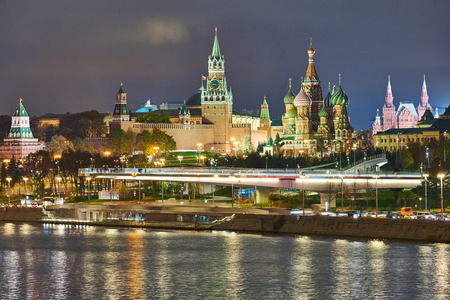 Moscow. Kremlin and Saint Basils Cathedral view in twilight.