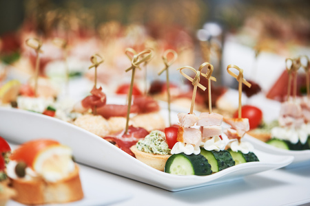 Delicious appetizer at served table in restaurant Stock Photo