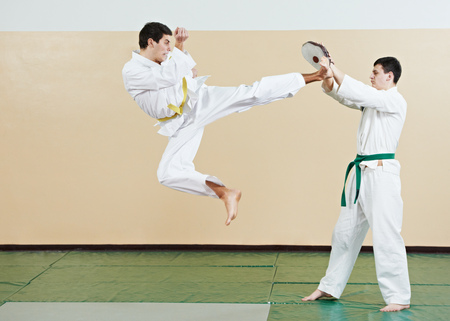 taekwondo exercises. Kick in jump Stock Photo