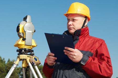 surveyor worker with theodolite Reklamní fotografie