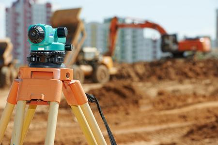 Surveyor equipment level outdoors at construction site Stock Photo