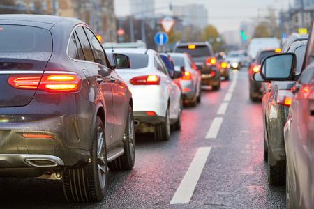 traffic jam or automobile collapse in a city street road Reklamní fotografie