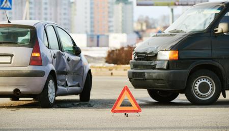 car crash accident on street. damaged automobiles Stock Photo