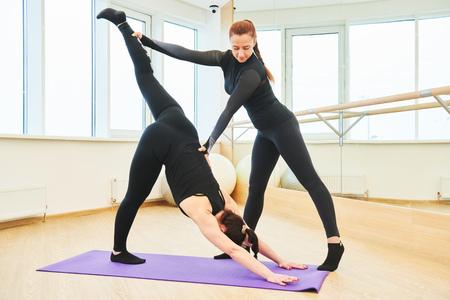 yoga training. Instructor controls of excercise execution