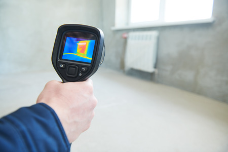 thermal imaging camera inspection for temperature check and finding heating pipes Reklamní fotografie