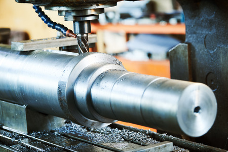 Milling metalworking process. machining shaft groove by vertical mill