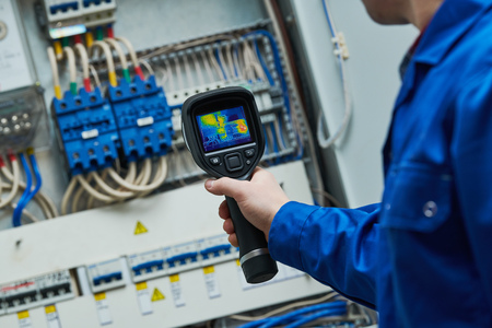 thermal imaging inspection of electrical equipment Stock Photo