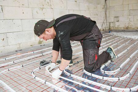 underfloor heating installation. warm Floor Heating system Stockfoto