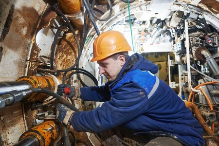 undeground working in tunnel. sewer collector installation