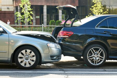 car crash accident on street. damaged automobiles Banco de Imagens