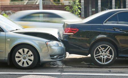 car crash accident on street. damaged automobiles Stockfoto