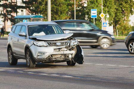 car crash accident on street. damaged automobiles Zdjęcie Seryjne