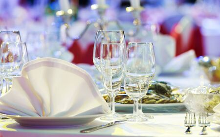 Catering service. snack at food court table during event