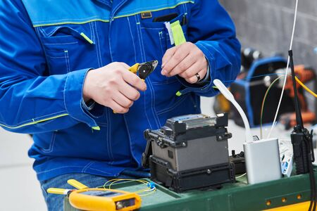 fusion splicer for fiber optic cable conection by welding. Electrical service