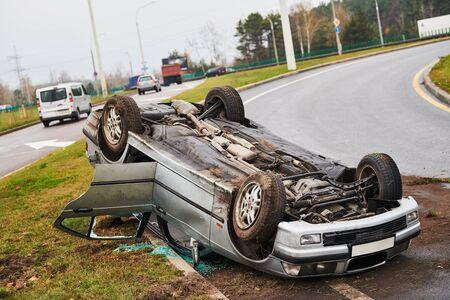 car crash accident. Car collision on city street. Two damaged automobiles Standard-Bild