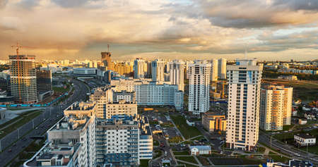 Panorama of urban district in rays of sunset light Stock Photo