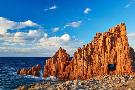 Sardinia sea marine landscape with red rocks in Arbatax