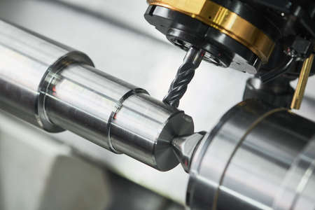 milling on lathe cnc machine. metal cut industry. Precision manufacturing and machining