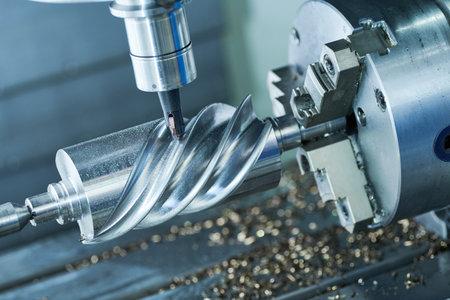 CNC milling machine work. metal worm gear processing