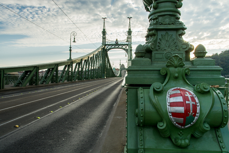 The empty Liberty bridge Szabadsg hid is stretching over the river Danube towards Buda. Photo taken on 3rd October, 2015.