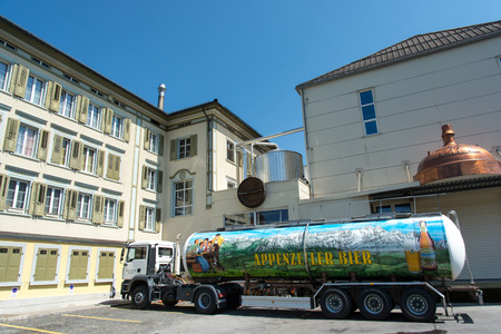 appenzeller: Appenzell, Switzerland - 8 August, 2015. Entrance of Appenzeller Brewery with branded beer truck.