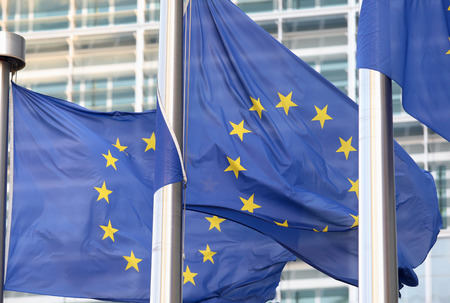 election commission: European flags in front of the Berlaymont building, headquarters of the European commission