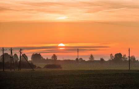 Beautiful sunrise on the field. isolated on natural photo