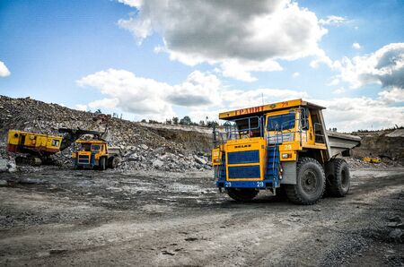 Production Mining of granite stone by quarrying machines in Mikashevichi