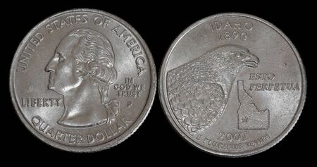 Quarter dollar from Idaho Imagens