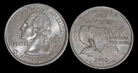 Quarter dollar from Louisiana Banco de Imagens