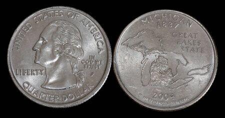 Quarter dollar from Michigan Banco de Imagens