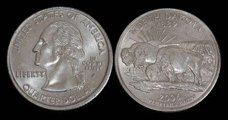 Quarter dollar from North Dakota Banco de Imagens