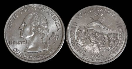 Quarter dollar from South Dakota Banco de Imagens
