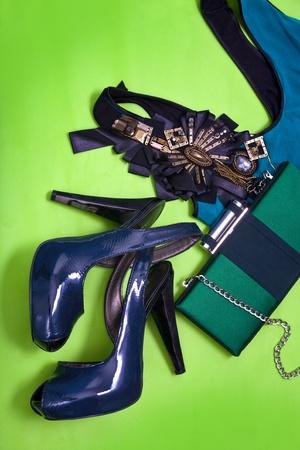 Women high heel shoes, top, clutch