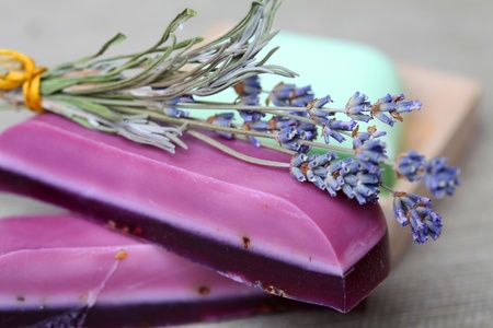 Handmade lavender soap bars and dryed lavender flowers