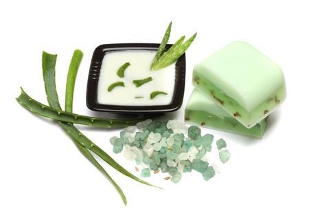 Aloe Vera soap, bath salt, moisturizer, isolated on white