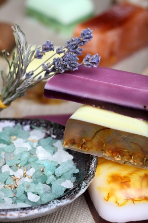 Handmade lavender and camomile soap bars bath salt and dryed lavender flowers