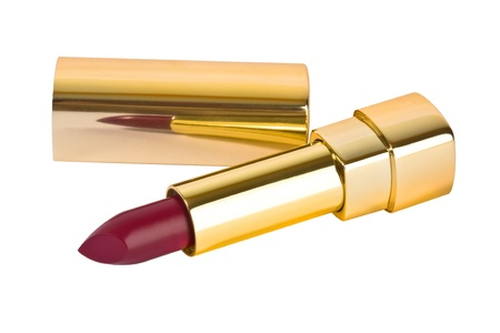 Red lipstick in gold tube