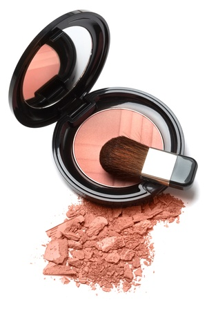 Compact powder blush box with mirror and brush isolated on white