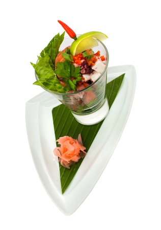 Fresh exotic seafood coctail salad