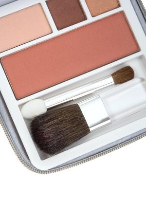 Macro shot of blush and eyeshadow palette Stock Photo