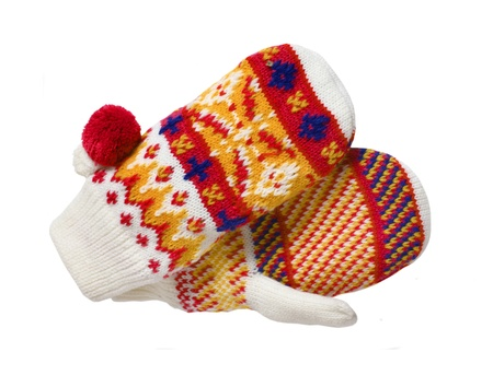 Knitted mittens isolated on white