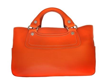 Orange leather bag isolated on white