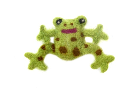 Felted frog isolated on white