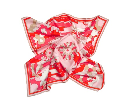 Red ornament silk scarf isolated on white