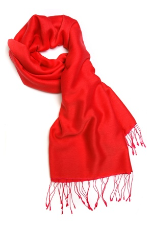 silk thread: Red scarf isolated on white