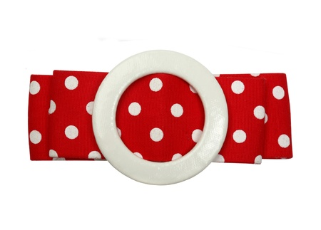 Red polka dot retro style belt isolated on white
