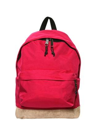 バックパック: 白で隔離される赤いバックパック