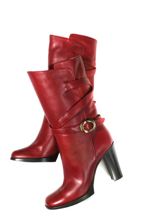 Red high heel boots isolated on white